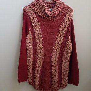 Tunic Sweater Maroon Cowl Neck Medium